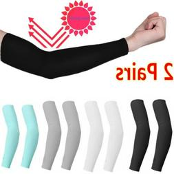 1/2 Pair Unisex Outdoor Sports Cooling Arm Sleeves Cover UV
