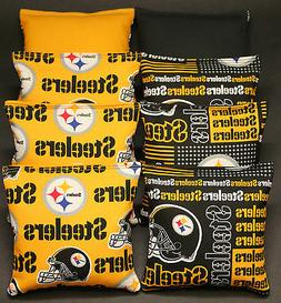 8 CORNHOLE BEANBAGS made w PITTSBURGH STEELERS Fabric ACA Re