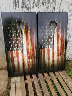 RUSTIC AMERICAN FLAG .Cornhole Board Game Decal Wraps Vinyl