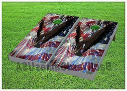 AMERICAN FLAG Custom Cornhole Boards BEANBAG TOSS GAME w Bag