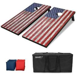 GoSports American Flag Regulation Size Cornhole Set Includes