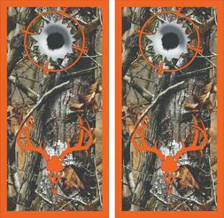 Camo Bullet Hole Deer Skull Cornhole Board Skin Wrap Decal S