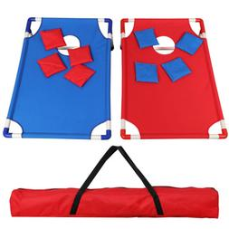Portable PVC Framed CornHole Game Set with 8 Bean Bags and C