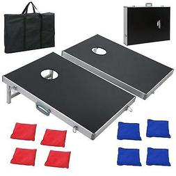 CornHole Bean Bag Toss Game Set Aluminum Frame Portable Desi
