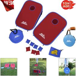 Portable PVC Framed Cornhole Game Set w/8 Bean Bags and Trav