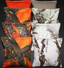 CORNHOLE BEAN BAGS True Timber White & Orange Camo Camouflag