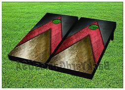 CORNHOLE BEANBAG TOSS GAME w Bags Game Boards Black Red Gold