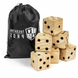 Tailgating Pros Giant Dice Set - 6 Oversized Wooden Playing