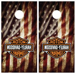 Harley Davidson Flag USA Cornhole Board Wraps Skins Vinyl La