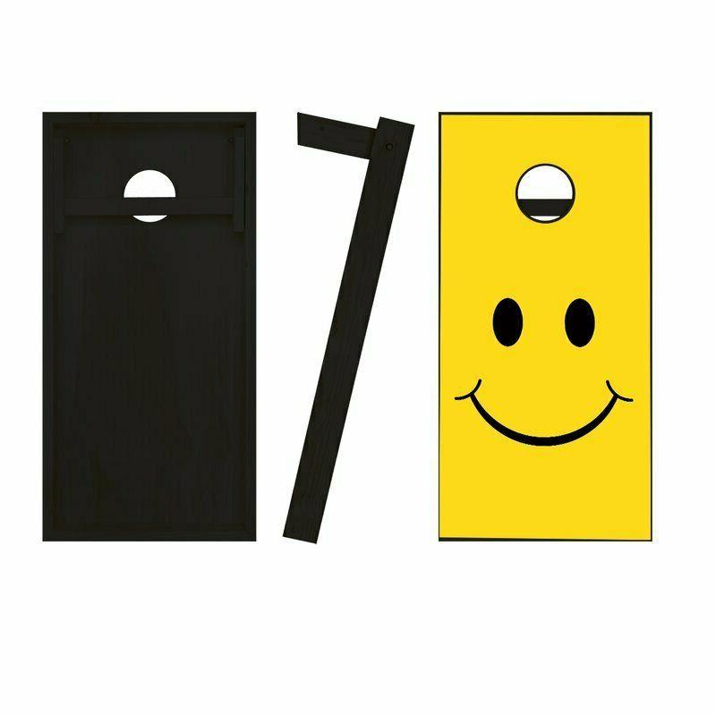 2' Smiley Solid Wood Cornhole