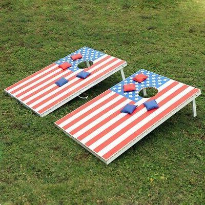 American Flag Bean Bag Toss Tailgate Cornhole Boards Game Fo