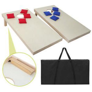 Unfinished Solid Wood Bean Bag Toss Cornhole Board Game Set
