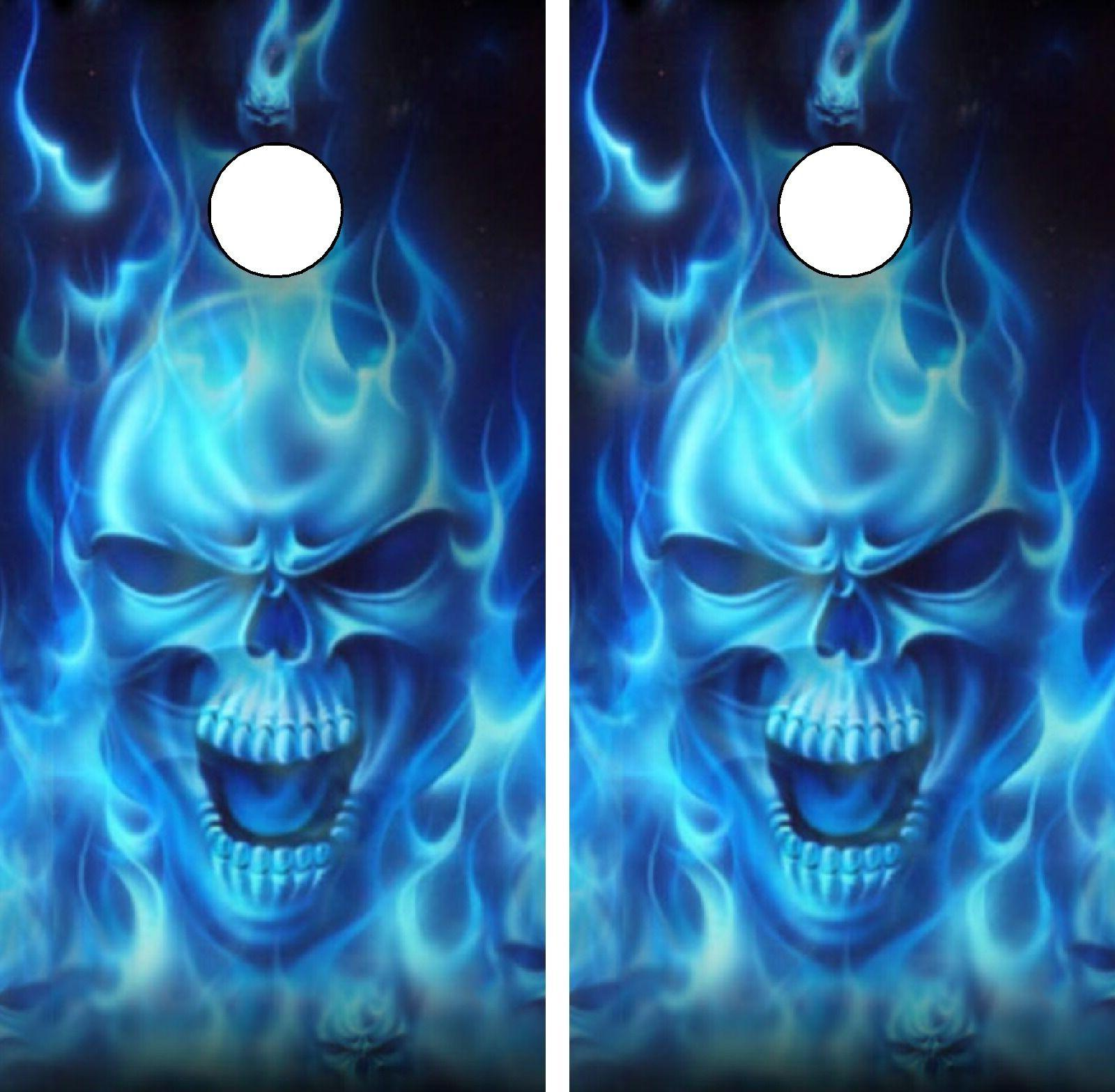 C15 Flaming Skull Cornhole Board Wrap LAMINATED Wraps Decals
