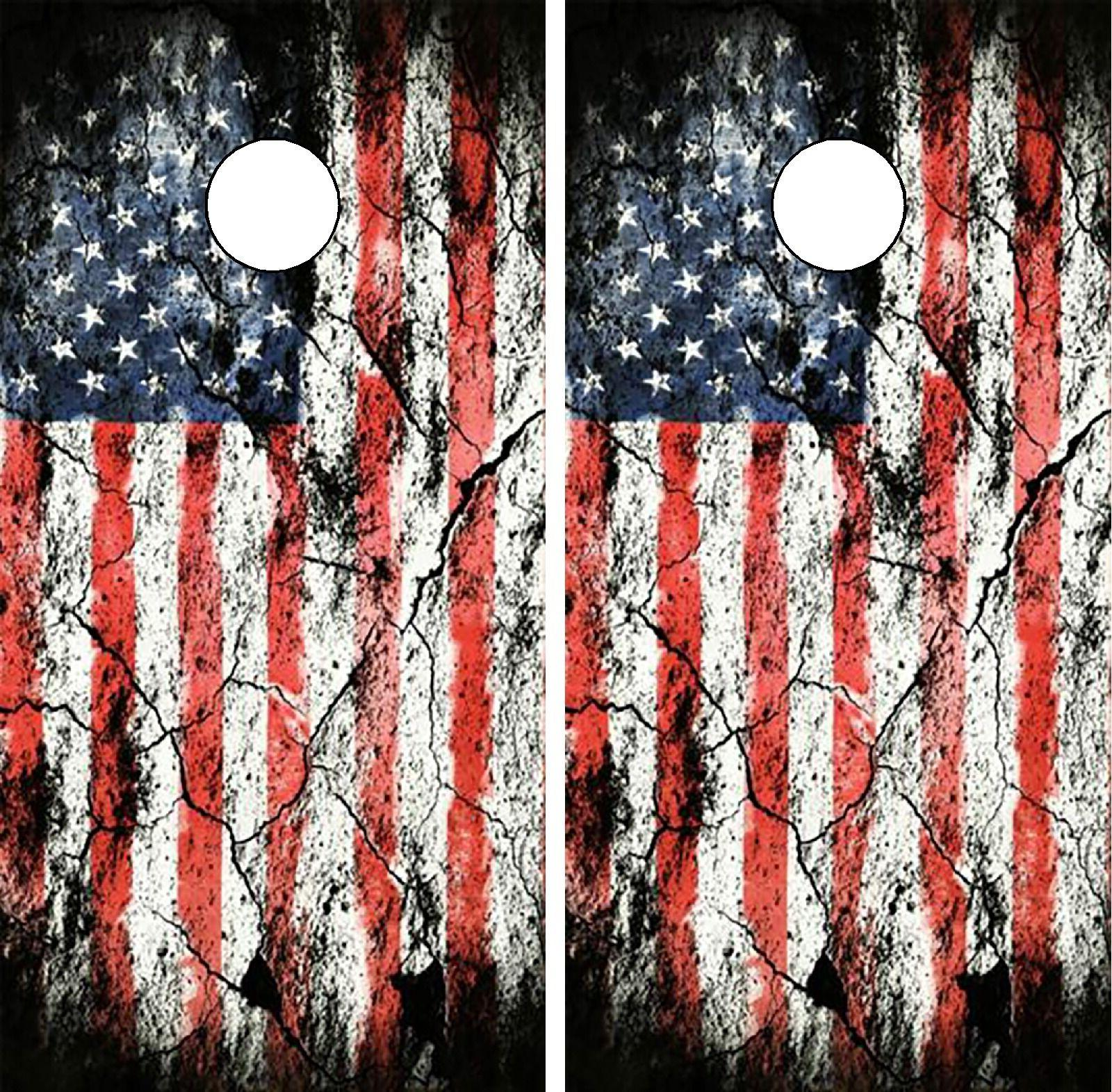 C197 Distressed Flag Cornhole Board Wrap LAMINATED Wraps Dec