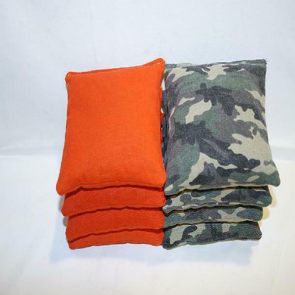 Cornhole Bags: Set 8 Donkey Camo and Orange regulation