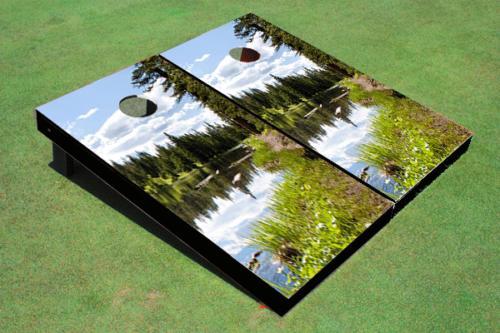 lake view custom cornhole board