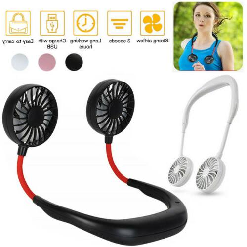 neckband fan portable usb rechargeable dual cooling