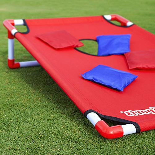 GoSports Portable PVC Cornhole Set and - Choose American Design, Red Blue or Football