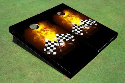 racing flags custom cornhole board