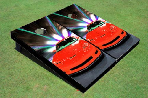 red corvette custom cornhole board