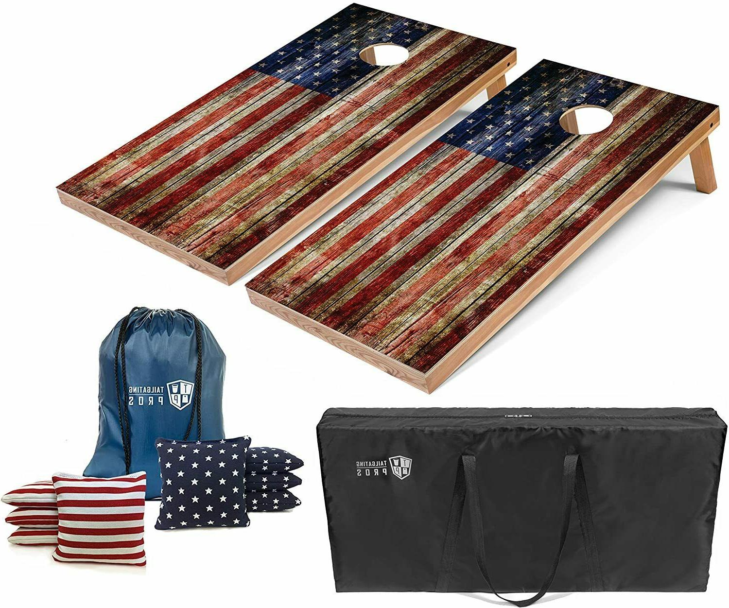 set of 4 x2 american flag wooden