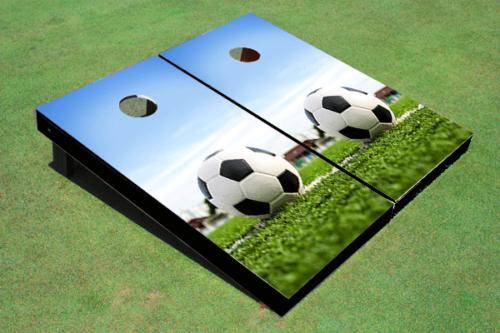 soccer ball custom cornhole board