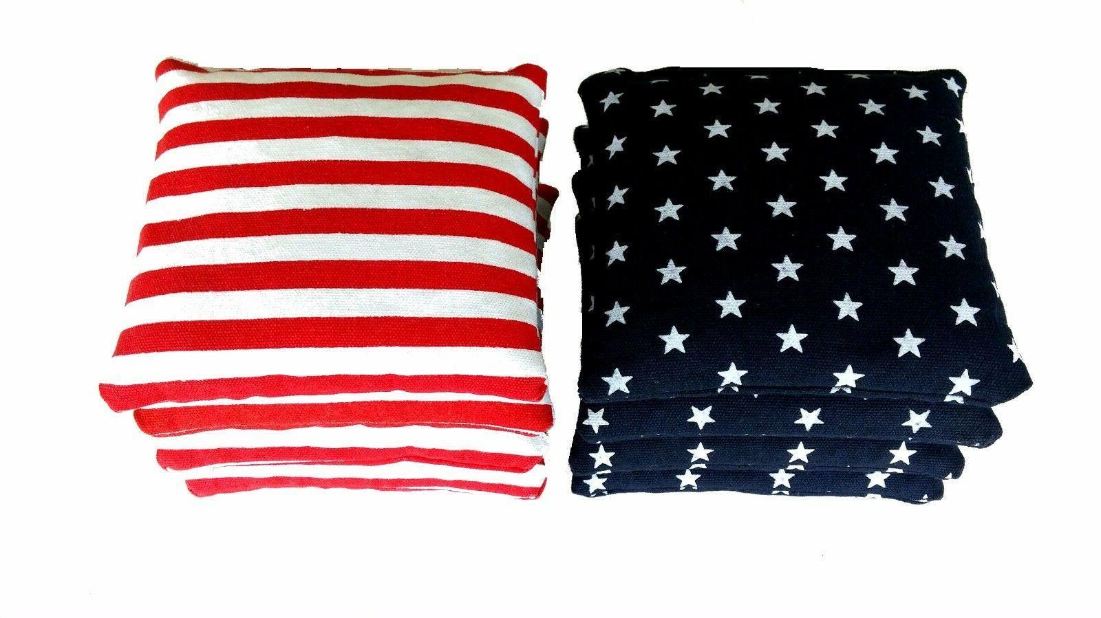 Stars 8 Cornhole bags Flag Free Drawstring Tote!