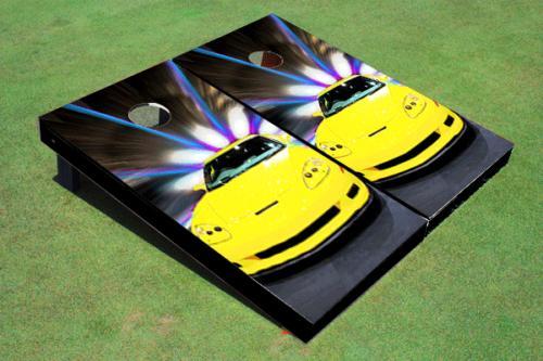 yellow corvette custom cornhole board