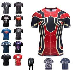 Mens Gym T-shirt Superman Superhero The Punisher Marvel Compression Armour Top
