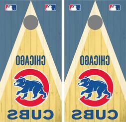 MLB Chicago Cubs Woodgrain Cornhole Skin Wrap set 3M Laminat
