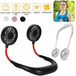 Neckband Fan Portable USB Rechargeable Dual Cooling Mini Laz