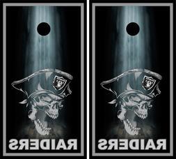 Oakland Raiders Skull NFL  Cornhole Skin Wrap set 3M Laminat