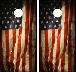 OLD AMERICAN FLAG 3 .Cornhole Board Game Decal Wraps USA Hig