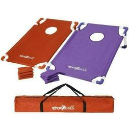 Portable 3'X2' PVC Framed Cornhole Game Set,  8 Bean Bags an