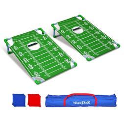 GoSports Portable PVC Frame Football Cornhole Game Set with