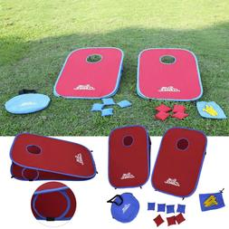 Portable PVC Framed Cornhole Game Set with 8 Bean Bags and T