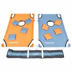 Portable PVC Framed Cornhole Game Set w/ 8 Bean Bags & Trave