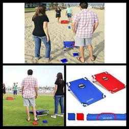 GoSports Portable PVC Framed Cornhole Toss Game Set with 8 B