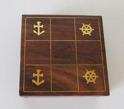 Premium Solid Wood Tic Tac Toe Portable Game Board Set Nauti