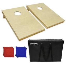 Real Wood Tailgate Size Cornhole Game  with 8 bags and case
