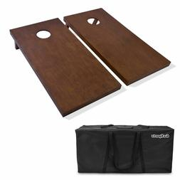 GoSports Regulation Size Wooden Cornhole Set with Brown Fini