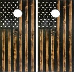 Rustic American Flag Cornhole Board Wrap LAMINATED Wrap Deca