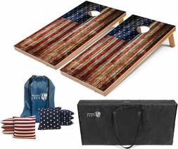 Set of 4'x2' American Flag Wooden Plank Cornhole Boards With