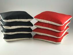 SET OF 8 DUAL SIDE SLICK & STICK CORNHOLE BAGS RED & BLACK F