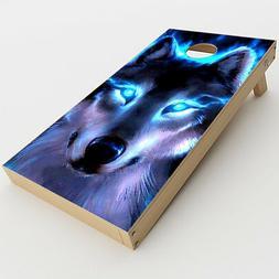 Skin Decal for Cornhole Game Board  / Wolf Glowing Eyes Fire