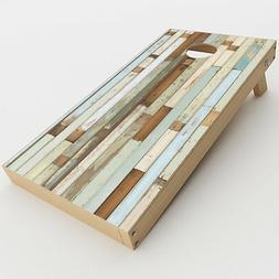 Skin Decal for Cornhole Game Board  / Beach Wood Panels Teal
