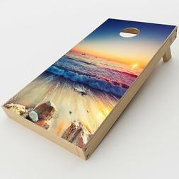 Skin Decal  for Cornhole Game Board Bag Toss  / Beach Tide W
