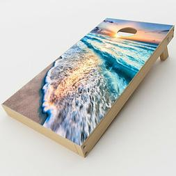 Skin Decals for Cornhole Game Board  / sunset on beach