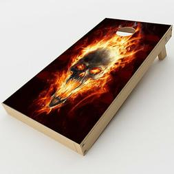 Skin Decals for Cornhole Game Board  / Fire Skull in Flames