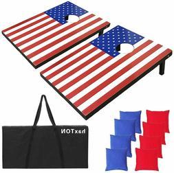 haxTON Solid Wood Premium Sets; American Flag; Corn hole tos
